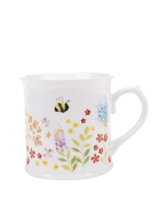 Krémový porcelánový hrnček s motívom kvetín Cooksmart