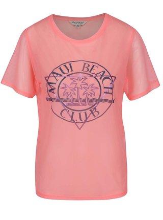 Ružové sieťované tričko s potlačou Miss Selfridge