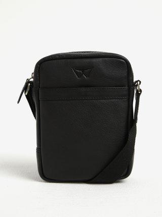 Čierna pánska kožená malá crossbody taška KARA