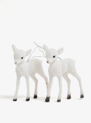 Súprava dvoch bielych ozdôb v tvare sobích mláďat Kaemingk
