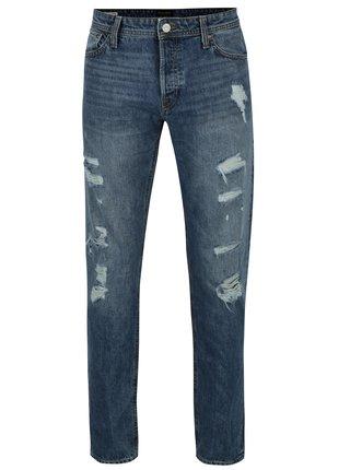 Modré džíny s potrhaným efektem Jack & Jones Mike
