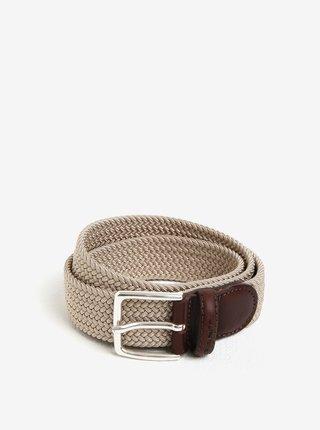 Hnědo-béžový pánský pásek s koženými detaily GANT Elastic