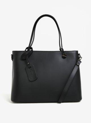 Čierna dámska kožená kabelka s detailmi v striebornej farbe KARA