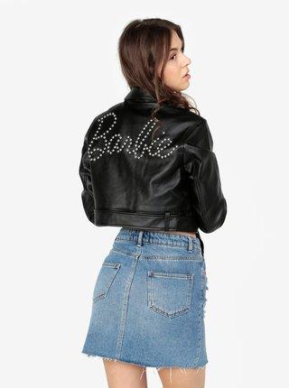 Černá koženková krátká bunda s ozdobnými cvočky na zádech MISSGUIDED Barbie