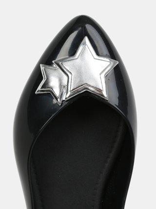 Čierne lesklé baleríny s detailmi v striebornej farbe Zaxy Chic