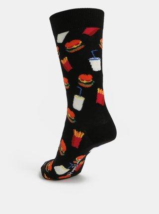 Černé vzorované unisex ponožky Happy Socks Hamburger