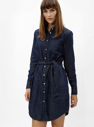 Modré košeľové šaty s opaskom Jacqueline de Yong Esra