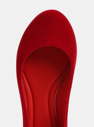 Červené baleríny v semišovej úprave Zaxy Pop Flocket