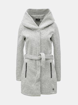 Svetlosivý dámsky melírovaný kabát s veľkou kapucňou killtec