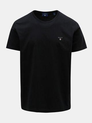 Černé pánské basic tričko s krátkým rukávem a s výšivkou GANT