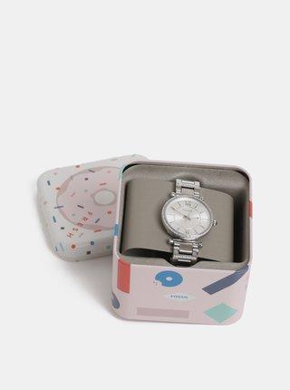 Dámske hodinky s nerezovým remienkom v striebornej farbe Fossil Carlie