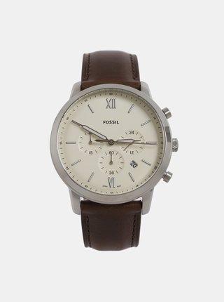 Pánske hodinky s hnedým koženým remienkom Fossil Neutra Chrono