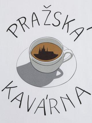 Biele pánske tričko s potlačou ZOOT Original Pražská kavárna