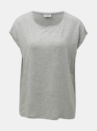 Sivé voľné melírované basic tričko s krátkym rukávom AWARE by VERO MODA Ava