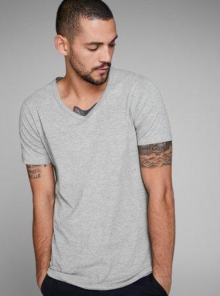 Šedé žíhané basic tričko s véčkovým výstřihem Jack & Jones Basic