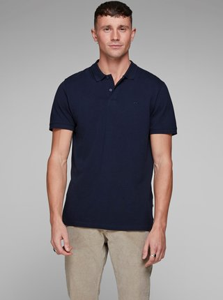 Modrá basic polokošeľa Jack & Jones