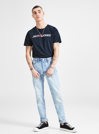 Modré tričko s potlačou Jack & Jones