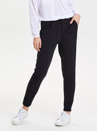 Černé zkrácené kalhoty s vysokým pasem ONLY Poptrash