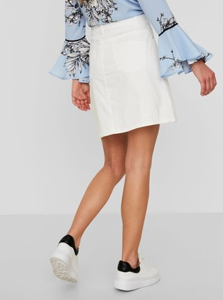 Biela rifľová sukňa s gombíkmi Noisy May Sunny