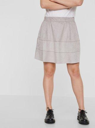 Světle šedá sukně v semišové úpravě Noisy May Lauren