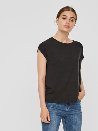 Černé basic tričko s krátkým rukávem AWARE by VERO MODA Ava