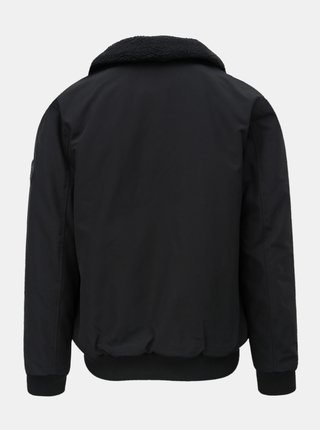 Čierna zimná bunda s hrejivým golierom Burton Menswear London Franklin