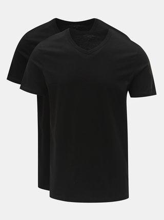 Balenie dvoch čiernych basic tričiek s véčkovým výstrihom Jack & Jones
