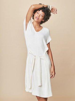 Krémové svetrové šaty so zaväzovaním touch me.
