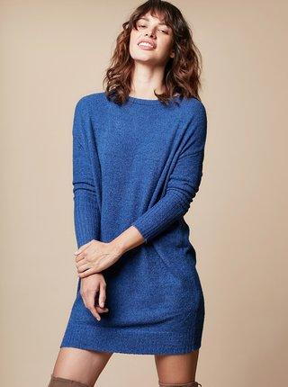 Modré svetrové minišaty s dlouhým rukávem a zavazováním touch me.