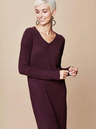 Tmavofialové svetrové šaty s véčkovým výstrihom a zaväzovaním touch me.
