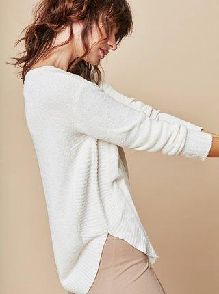 Krémový voľný sveter s okrúhlym výstrihom touch me. Pocahontas Vibe