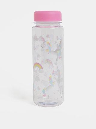 Ružová fľaša na vodu s motívom jednorožca Sass & Belle Rainbow Unicorn