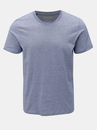 Modré melírované basic tričko Selected Homme Perfect