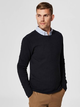 Tmavomodrý sveter s okrúhlym výstrihom Selected Homme Rocky