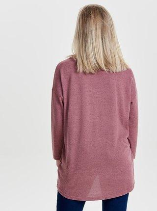 Růžový volný žíhaný basic svetr ONLY Elcos