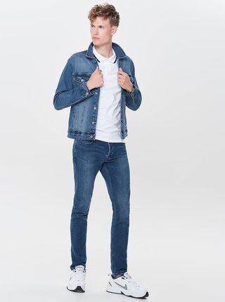 Modrá džínová bunda s vyšisovaným efektem ONLY & SONS Coin