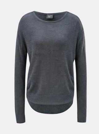 Sivý voľný sveter s okrúhlym výstrihom touch me. Pocahontas Vibe