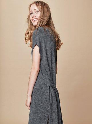 Sivé svetrové šaty so zaväzovaním touch me.