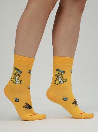 Oranžové dámske ponožky s motívom Víly Amálky Fusakle