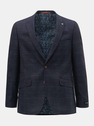 Tmavomodré kockované oblekové slim fit sako Burton Menswear London