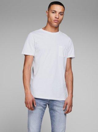 Biele basic tričko s náprsným vreckom Jack & Jones