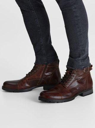 Tmavohnedé pánske kožené členkové topánky s prackou Jack & Jones Bany