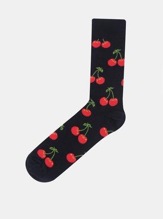 Tmavomodré unisex ponožky so strapcami Happy Socks Cherry
