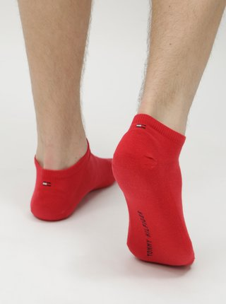 Sada dvou párů pánských nízkých ponožek v červené a modré barvě Tommy Hilfiger