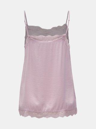 Světle růžový top s krajkovými detaily VILA Cava