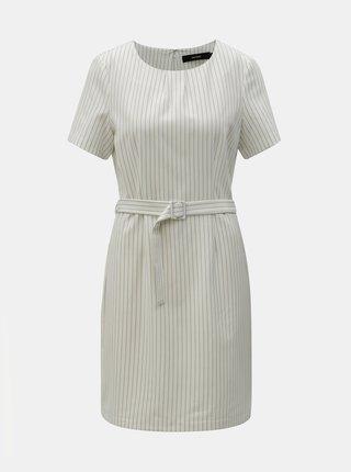 Bílé pruhované šaty s páskem VERO MODA Helena