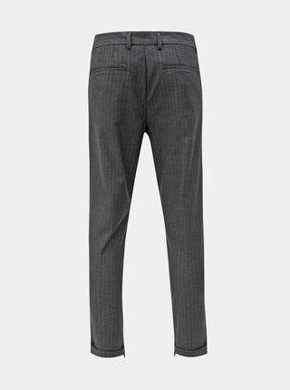 Sivé pruhované skrátené nohavice Selected Homme Alex
