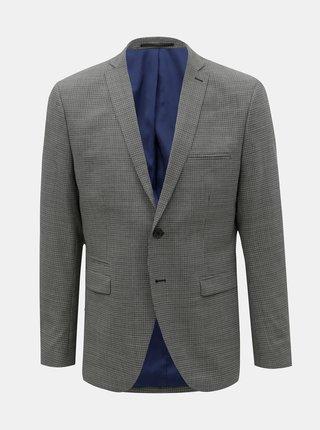 Šedé kostkované oblekové slim sako s příměsí vlny Selected Homme Buffalonoah
