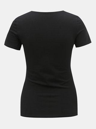 Černé tričko s pásky v dekoltu TALLY WEiJL Libro