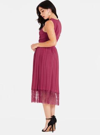 Vínové šaty s čipkou Little Mistress